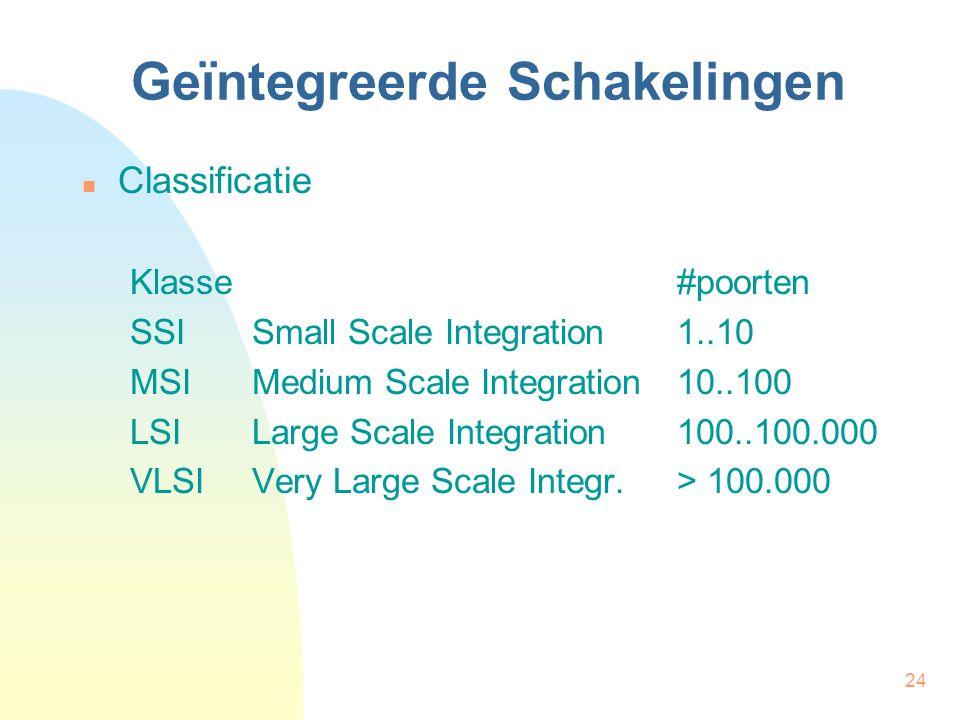 24 Geïntegreerde Schakelingen  Classificatie Klasse#poorten SSISmall Scale Integration1..10 MSIMedium Scale Integration10..100 LSILarge Scale Integra