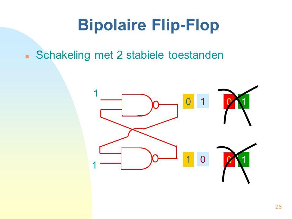 26 Bipolaire Flip-Flop  Schakeling met 2 stabiele toestanden 1 1 0 1 1 0 0 0 1 1