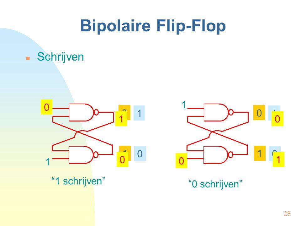 """28 Bipolaire Flip-Flop  Schrijven 1 1 0 1 0 1 0 1 0 1 1 0 1 0 1 0 0 1 """"1 schrijven"""" """"0 schrijven"""""""