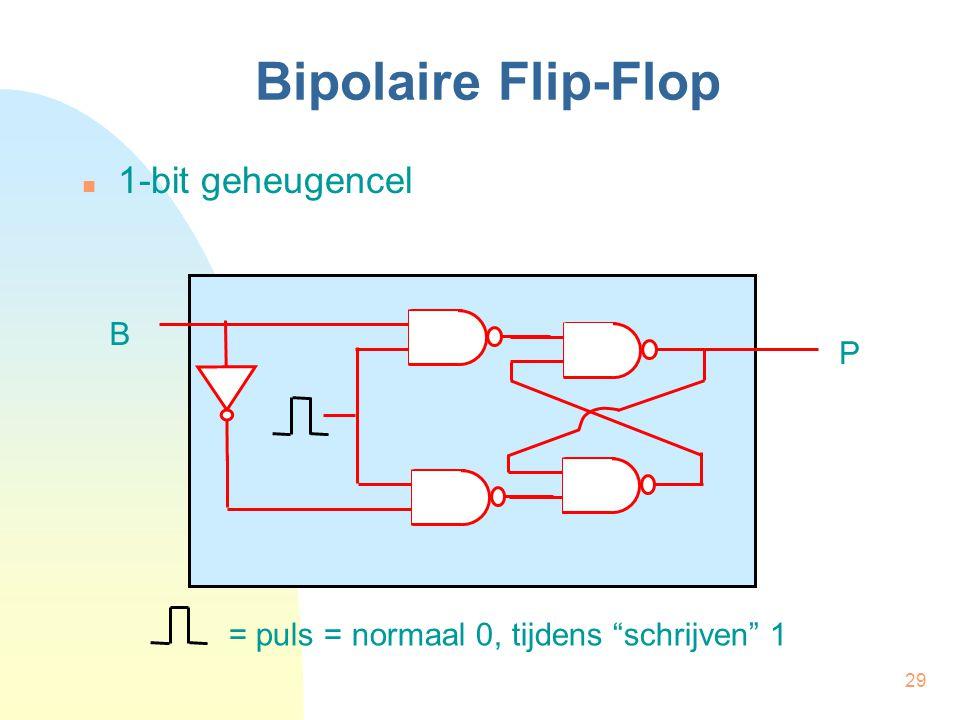 """29 Bipolaire Flip-Flop  1-bit geheugencel B P = puls = normaal 0, tijdens """"schrijven"""" 1"""