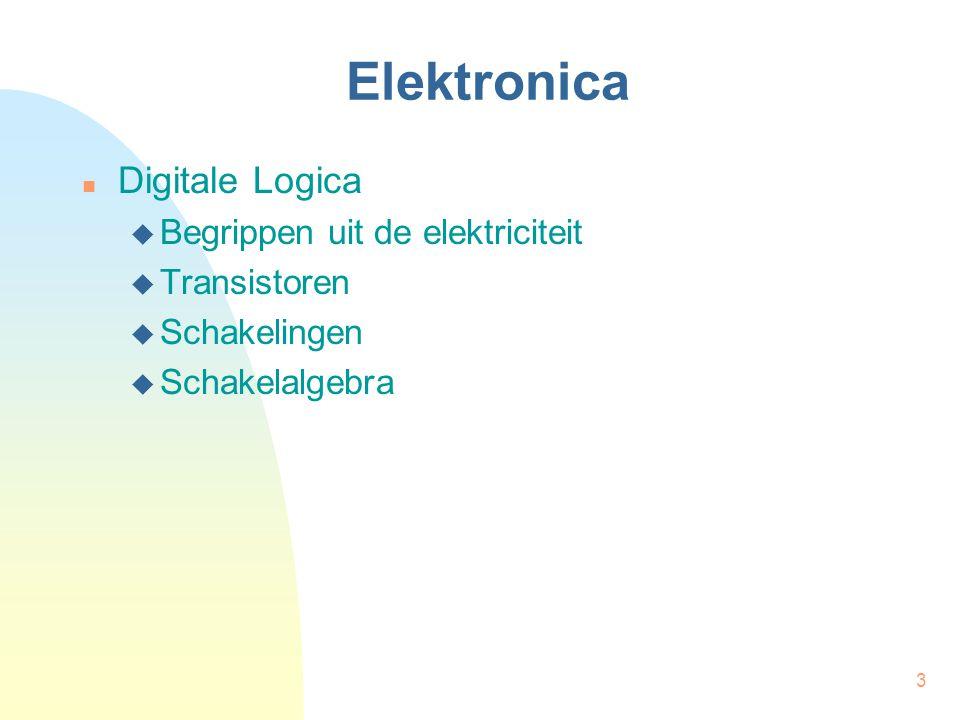 3 Elektronica  Digitale Logica  Begrippen uit de elektriciteit  Transistoren  Schakelingen  Schakelalgebra
