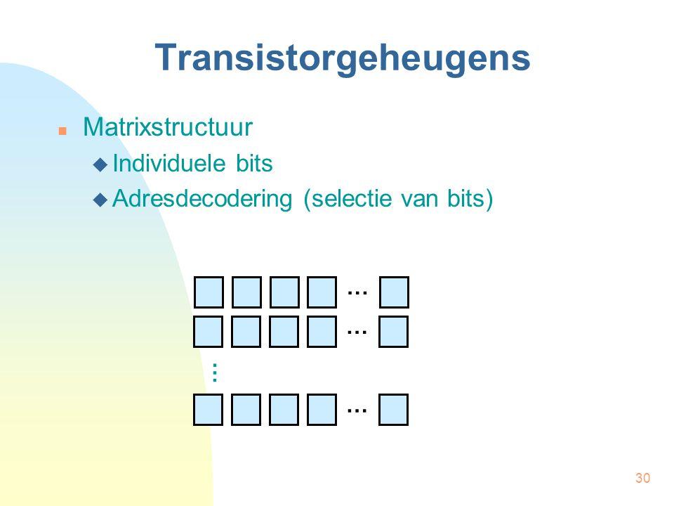 30 Transistorgeheugens  Matrixstructuur  Individuele bits  Adresdecodering (selectie van bits) … … … …