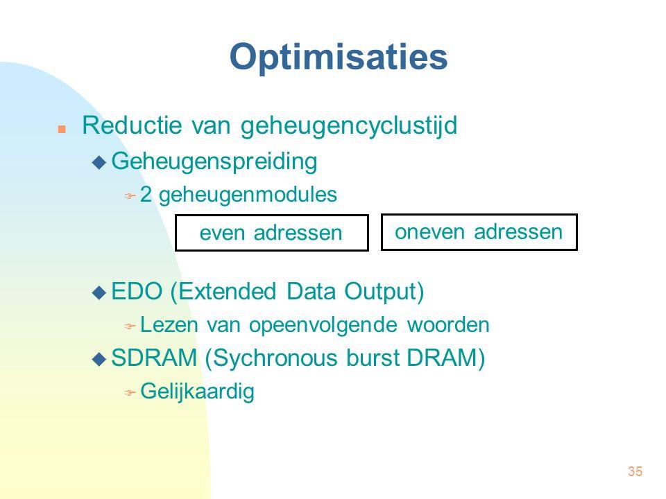 35 Optimisaties  Reductie van geheugencyclustijd  Geheugenspreiding  2 geheugenmodules  EDO (Extended Data Output)  Lezen van opeenvolgende woord
