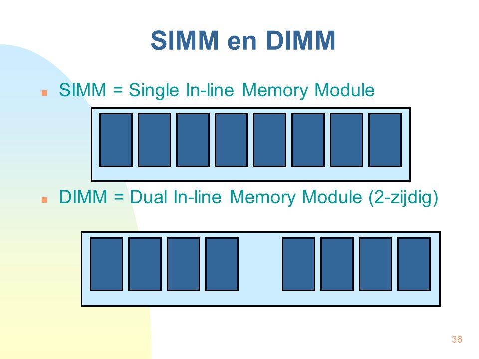 36 SIMM en DIMM  SIMM = Single In-line Memory Module  DIMM = Dual In-line Memory Module (2-zijdig)