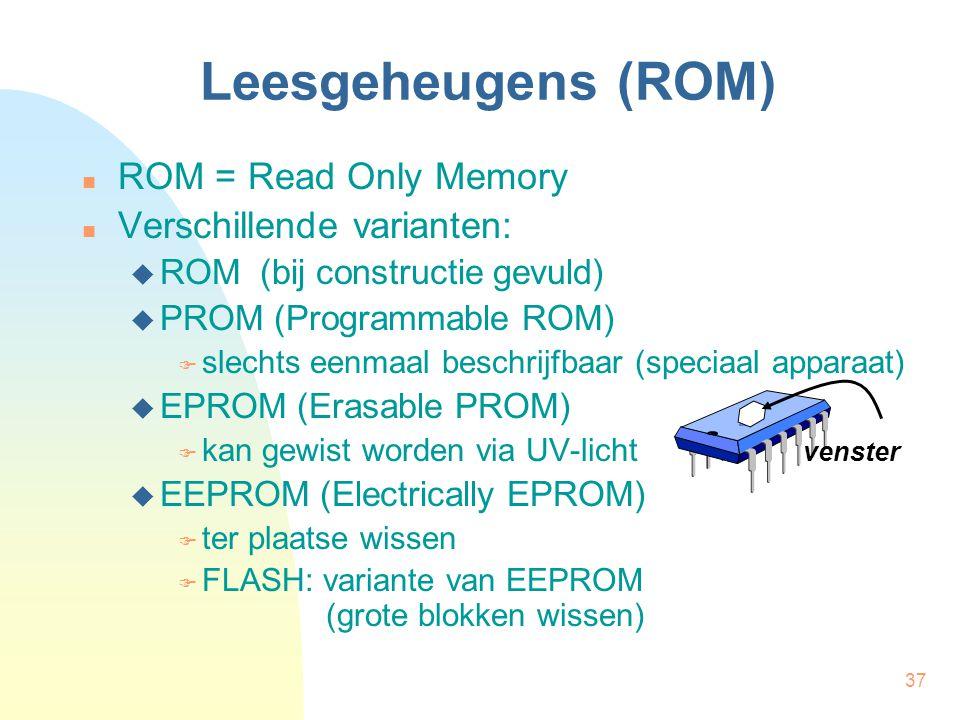 37 Leesgeheugens (ROM)  ROM = Read Only Memory  Verschillende varianten:  ROM (bij constructie gevuld)  PROM (Programmable ROM)  slechts eenmaal