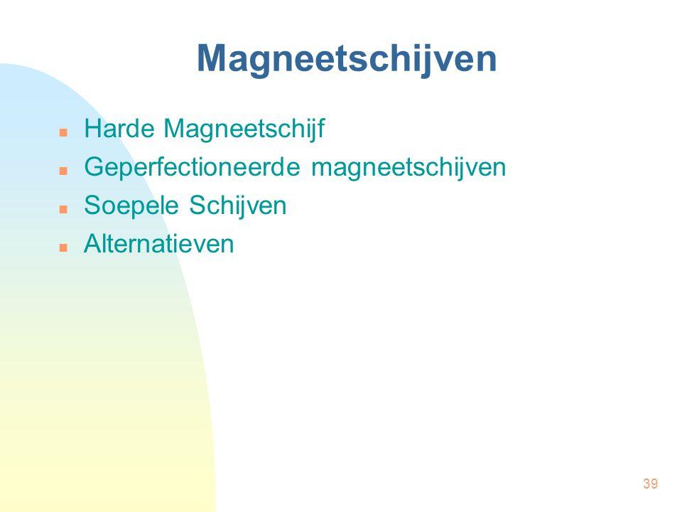 39 Magneetschijven  Harde Magneetschijf  Geperfectioneerde magneetschijven  Soepele Schijven  Alternatieven