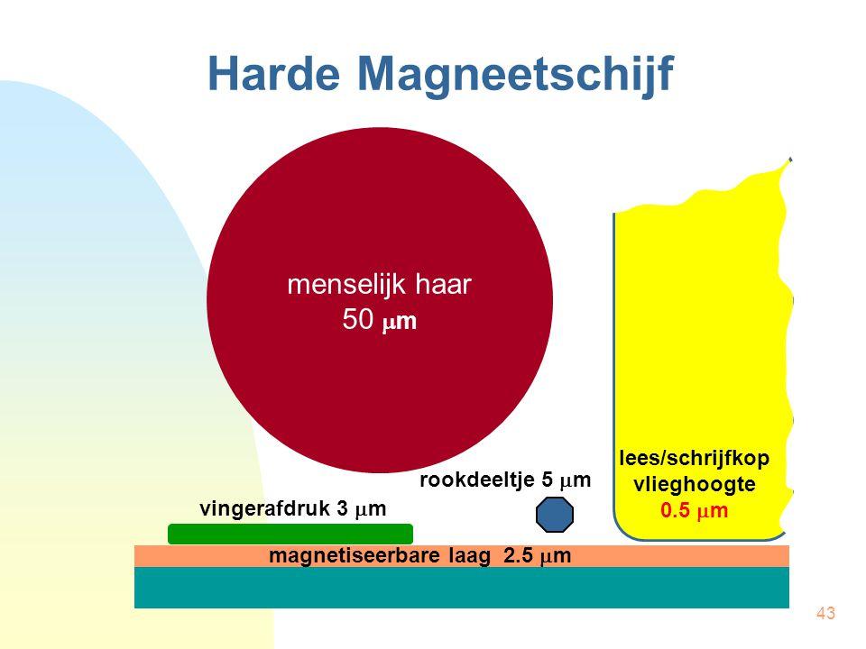 43 Harde Magneetschijf menselijk haar 50  m rookdeeltje 5  m vingerafdruk 3  m magnetiseerbare laag 2.5  m lees/schrijfkop vlieghoogte 0.5  m