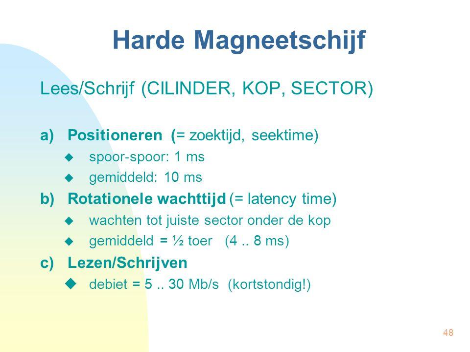 48 Harde Magneetschijf Lees/Schrijf (CILINDER, KOP, SECTOR) a)Positioneren (= zoektijd, seektime)  spoor-spoor: 1 ms  gemiddeld: 10 ms b)Rotationele
