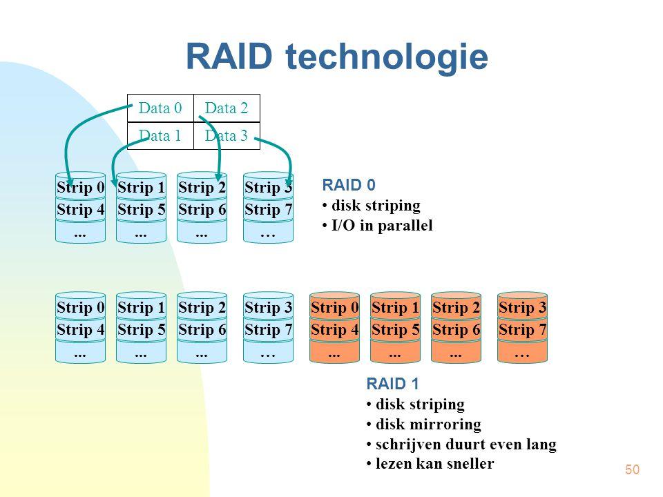 50 RAID technologie... Strip 4 Strip 0... Strip 5 Strip 1... Strip 6 Strip 2 … Strip 7 Strip 3 RAID 0 • disk striping • I/O in parallel... Strip 4 Str