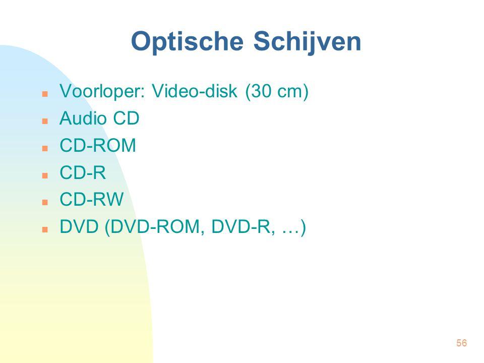 56 Optische Schijven  Voorloper: Video-disk (30 cm)  Audio CD  CD-ROM  CD-R  CD-RW  DVD (DVD-ROM, DVD-R, …)