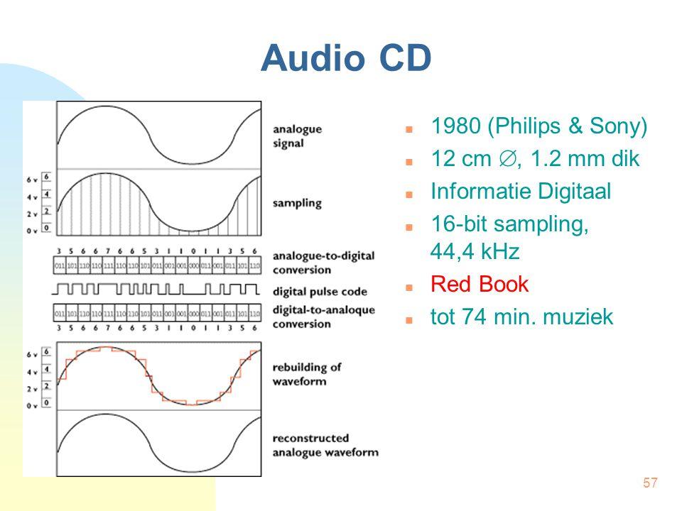 57 Audio CD  1980 (Philips & Sony)  12 cm , 1.2 mm dik  Informatie Digitaal  16-bit sampling, 44,4 kHz  Red Book  tot 74 min. muziek