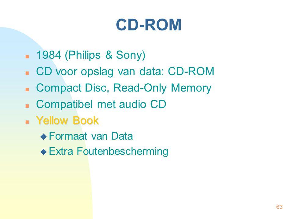 63 CD-ROM  1984 (Philips & Sony)  CD voor opslag van data: CD-ROM  Compact Disc, Read-Only Memory  Compatibel met audio CD  Yellow Book  Formaat