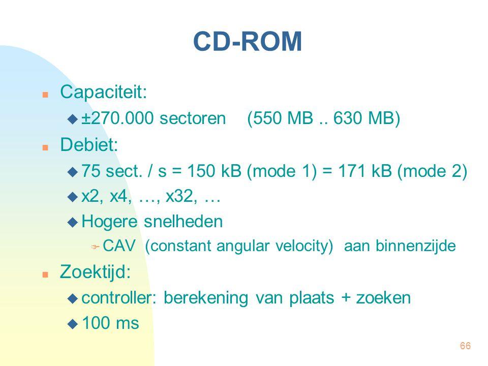 66 CD-ROM  Capaciteit:  ±270.000 sectoren (550 MB.. 630 MB)  Debiet:  75 sect. / s = 150 kB (mode 1) = 171 kB (mode 2)  x2, x4, …, x32, …  Hoger