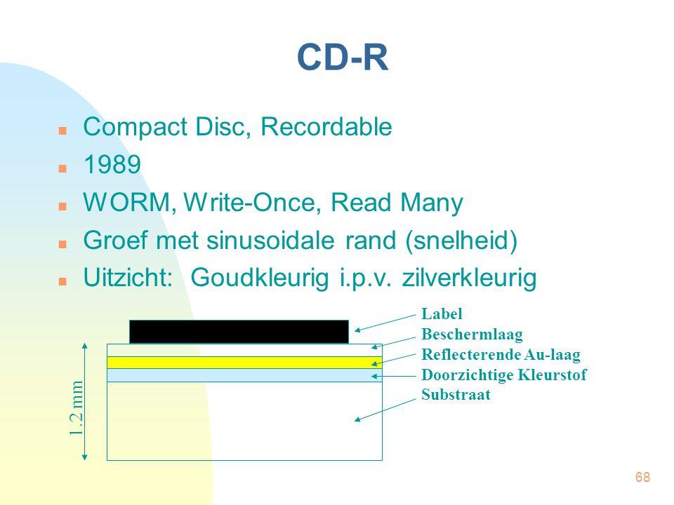 68 CD-R  Compact Disc, Recordable  1989  WORM, Write-Once, Read Many  Groef met sinusoidale rand (snelheid)  Uitzicht: Goudkleurig i.p.v. zilverk