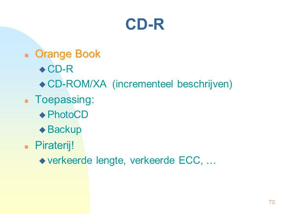 70 CD-R  Orange Book  CD-R  CD-ROM/XA (incrementeel beschrijven)  Toepassing:  PhotoCD  Backup  Piraterij!  verkeerde lengte, verkeerde ECC, …
