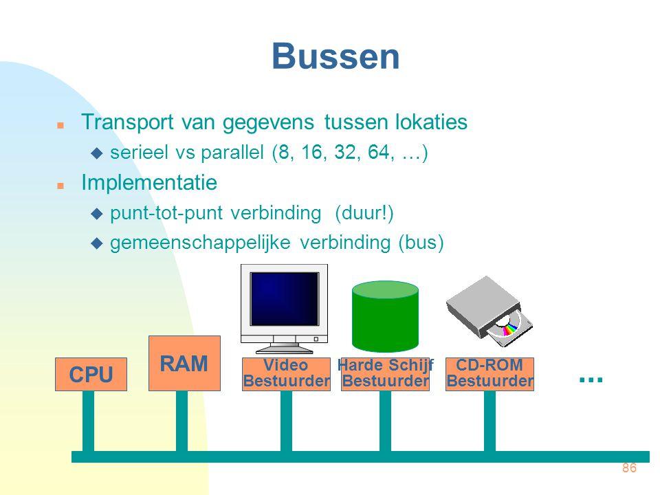 86 Bussen  Transport van gegevens tussen lokaties  serieel vs parallel (8, 16, 32, 64, …)  Implementatie  punt-tot-punt verbinding (duur!)  gemee