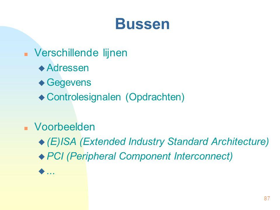 87 Bussen  Verschillende lijnen  Adressen  Gegevens  Controlesignalen (Opdrachten)  Voorbeelden  (E)ISA (Extended Industry Standard Architecture