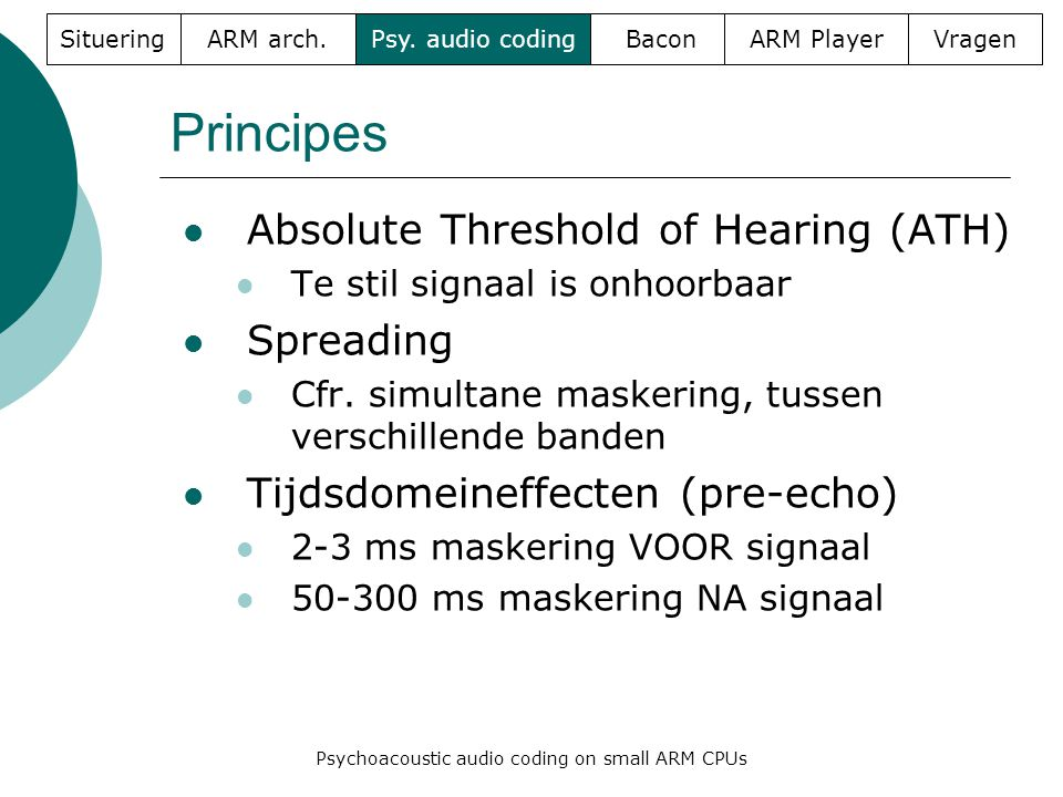 Principes  Absolute Threshold of Hearing (ATH)  Te stil signaal is onhoorbaar  Spreading  Cfr.