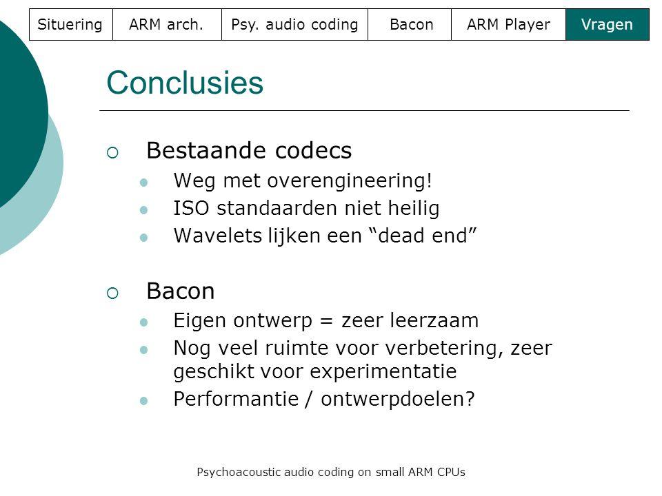 Conclusies  Bestaande codecs  Weg met overengineering.