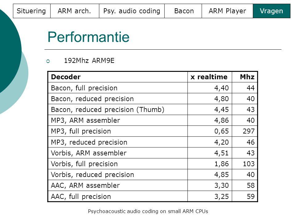 Performantie  192Mhz ARM9E SitueringARM arch. Psy. audio codingBaconARM PlayerVragen Psychoacoustic audio coding on small ARM CPUs Decoderx realtimeM