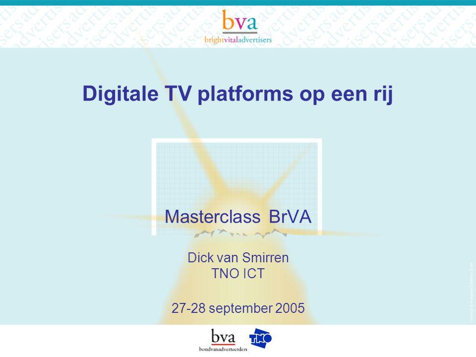Digitale TV platforms op een rij Masterclass BrVA Dick van Smirren TNO ICT 27-28 september 2005