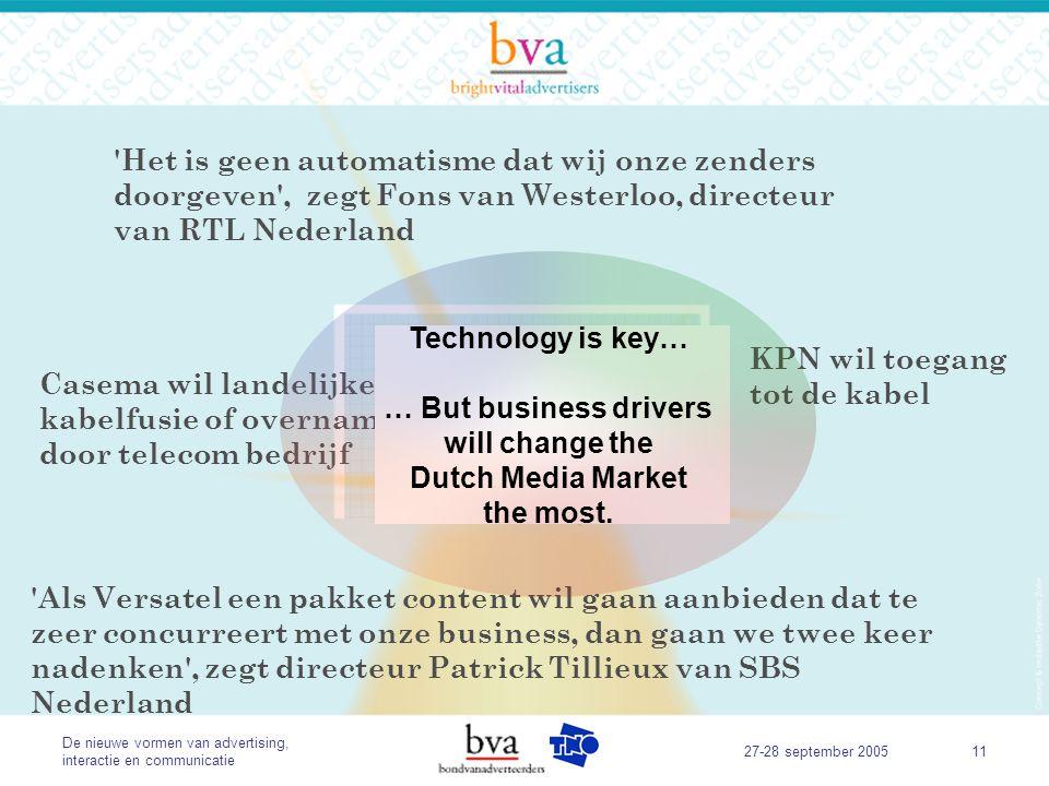 De nieuwe vormen van advertising, interactie en communicatie 27-28 september 200511 Technology is key for competition.