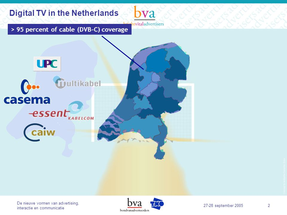 De nieuwe vormen van advertising, interactie en communicatie 27-28 september 20053 > 95 percent of cable (DVB-C) coverage> 99 percent of telephony coverage Digital TV in the Netherlands