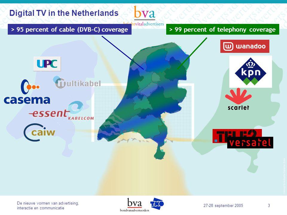De nieuwe vormen van advertising, interactie en communicatie 27-28 september 20054 > 95 percent of cable (DVB-C) coverage> 99 percent of telephony coverage DVB–T ~ 30% coverage Terrestrial Digital TV in the Netherlands