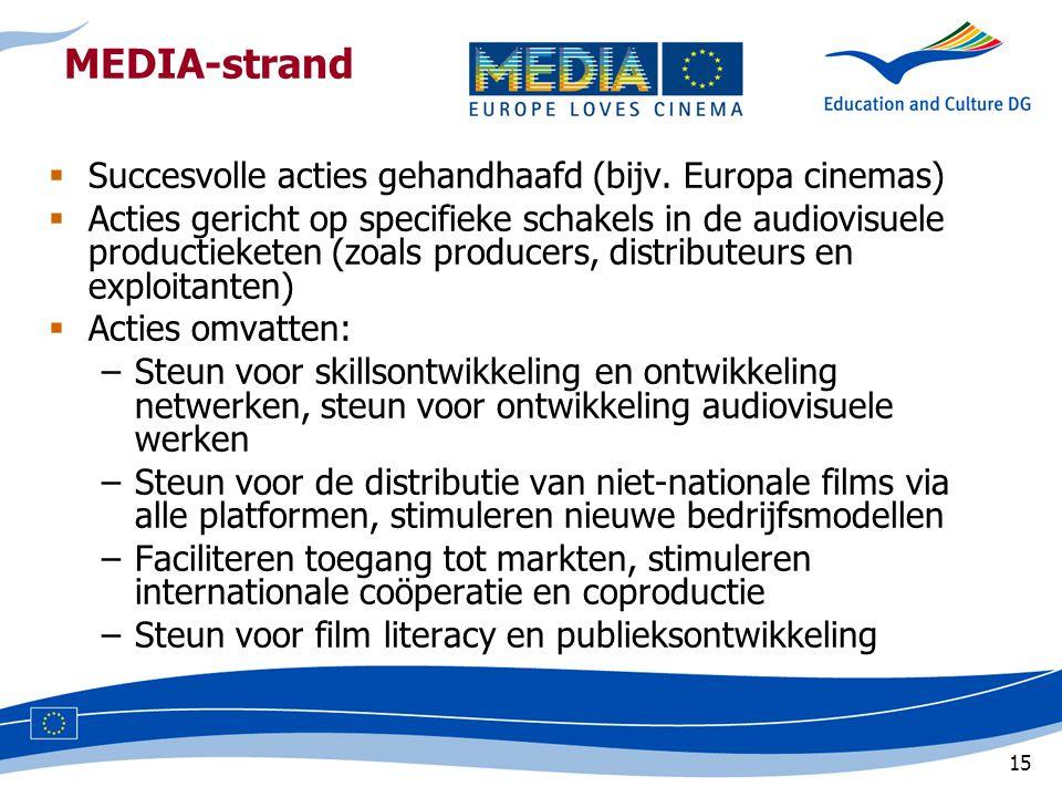 15 MEDIA-strand  Succesvolle acties gehandhaafd (bijv.