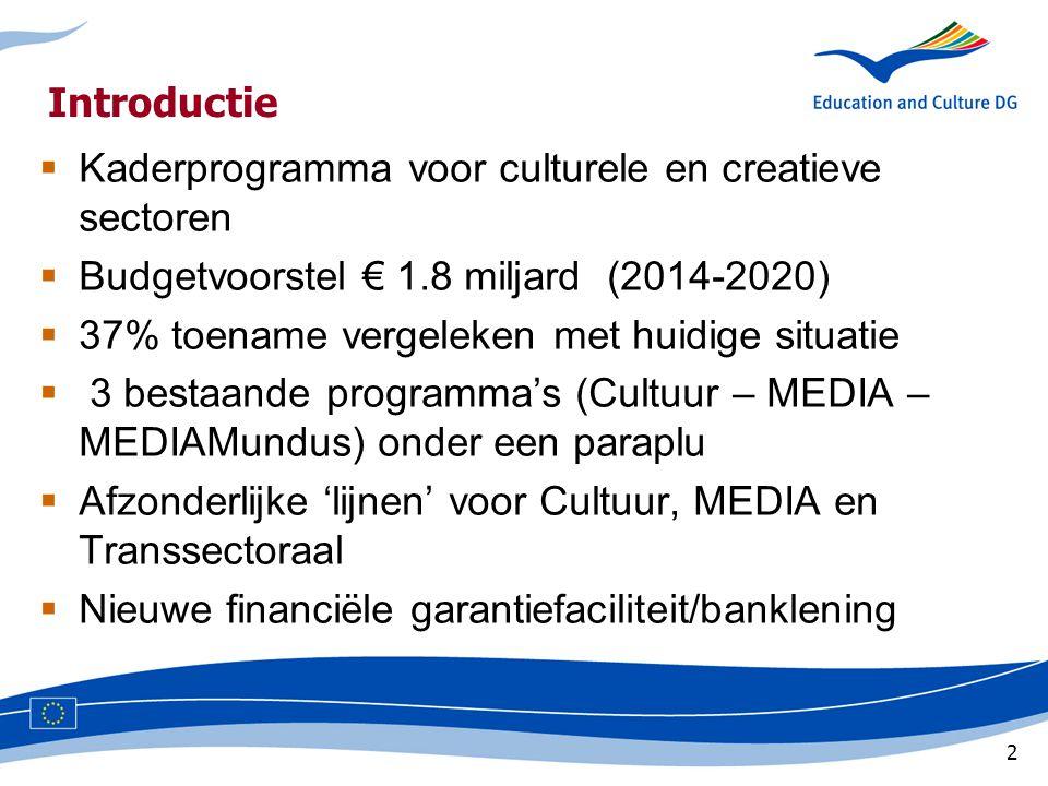 2 Introductie  Kaderprogramma voor culturele en creatieve sectoren  Budgetvoorstel € 1.8 miljard (2014-2020)  37% toename vergeleken met huidige situatie  3 bestaande programma's (Cultuur – MEDIA – MEDIAMundus) onder een paraplu  Afzonderlijke 'lijnen' voor Cultuur, MEDIA en Transsectoraal  Nieuwe financiële garantiefaciliteit/banklening