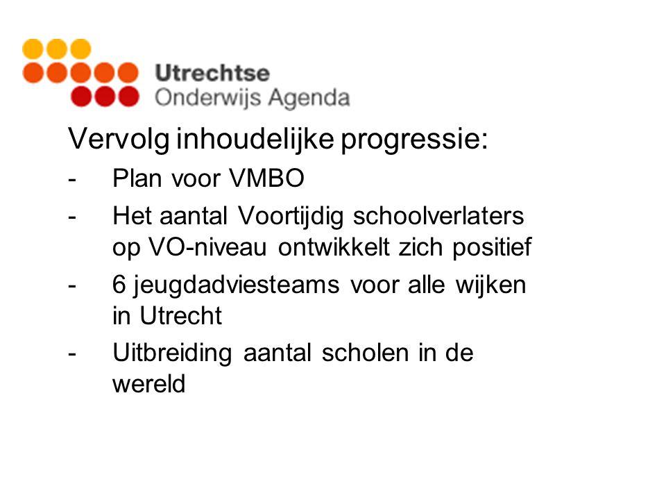 Vervolg inhoudelijke progressie: -Plan voor VMBO -Het aantal Voortijdig schoolverlaters op VO-niveau ontwikkelt zich positief -6 jeugdadviesteams voor