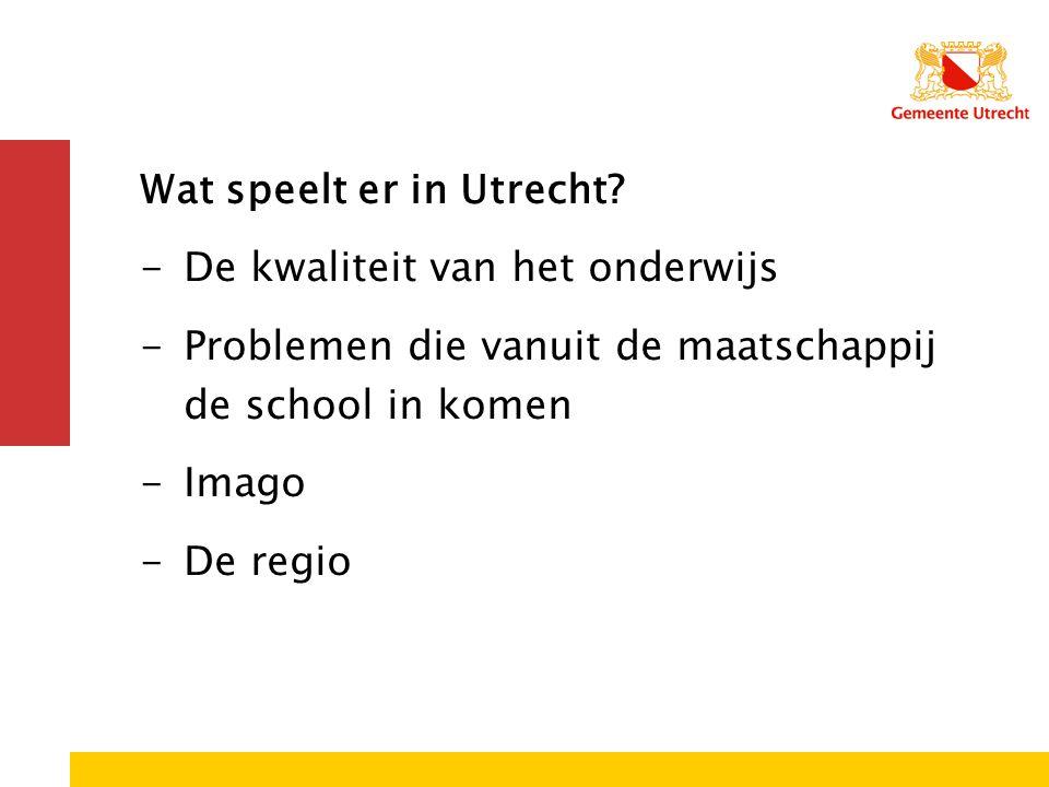Wat speelt er in Utrecht? -De kwaliteit van het onderwijs -Problemen die vanuit de maatschappij de school in komen -Imago -De regio