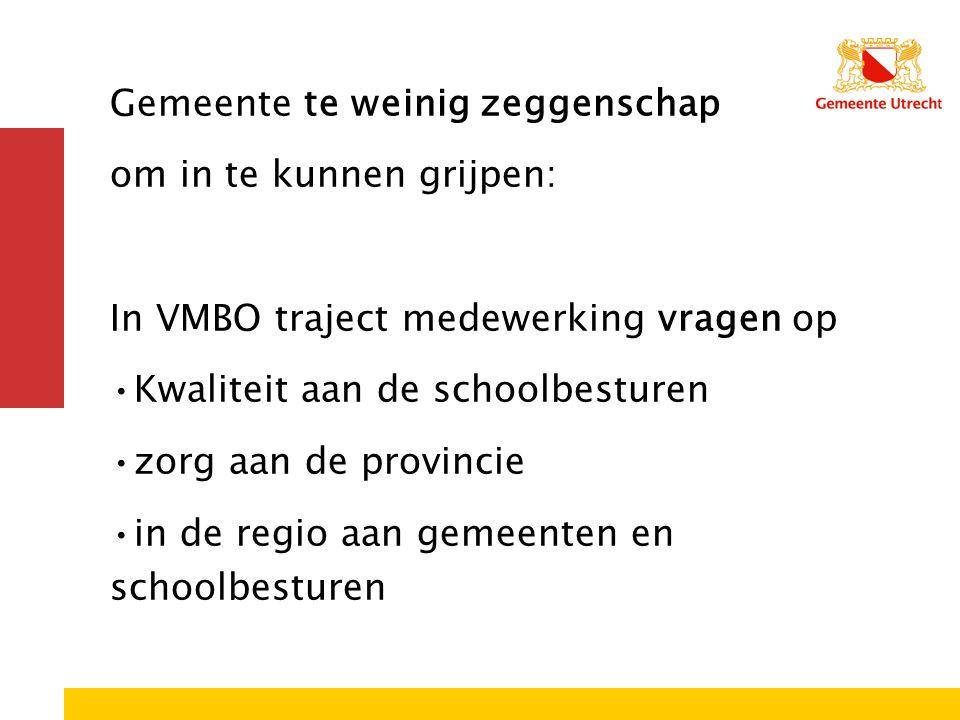 Gemeente te weinig zeggenschap om in te kunnen grijpen: In VMBO traject medewerking vragen op •Kwaliteit aan de schoolbesturen •zorg aan de provincie