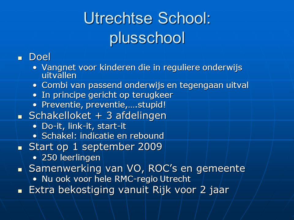 Utrechtse School: plusschool  Doel •Vangnet voor kinderen die in reguliere onderwijs uitvallen •Combi van passend onderwijs en tegengaan uitval •In p