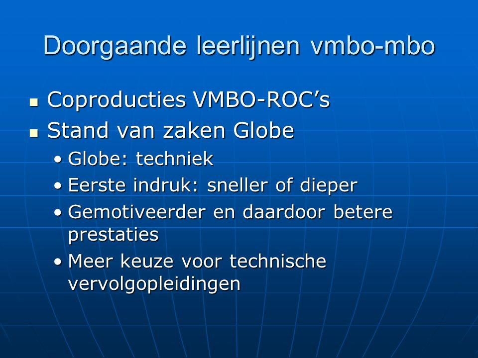 Doorgaande leerlijnen vmbo-mbo  Coproducties VMBO-ROC's  Stand van zaken Globe •Globe: techniek •Eerste indruk: sneller of dieper •Gemotiveerder en