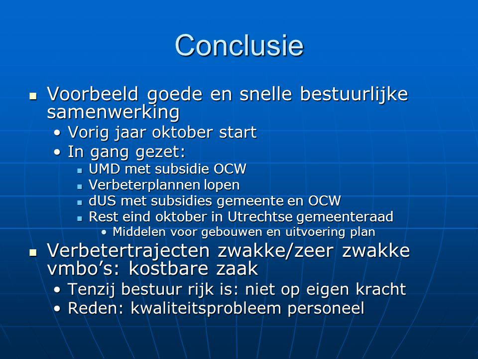 Conclusie  Voorbeeld goede en snelle bestuurlijke samenwerking •Vorig jaar oktober start •In gang gezet:  UMD met subsidie OCW  Verbeterplannen lop