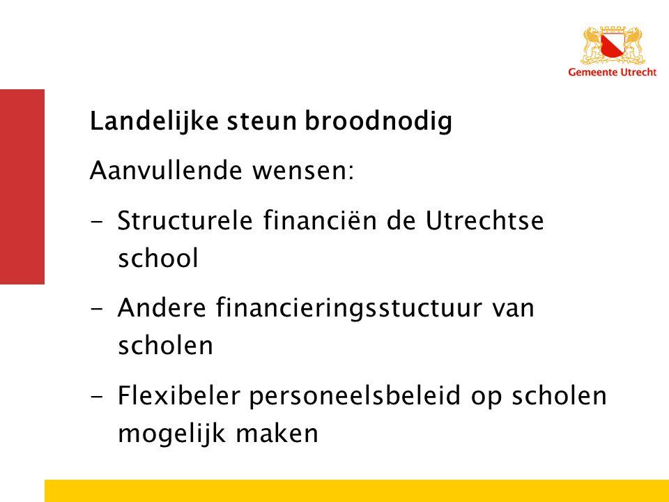 Landelijke steun broodnodig Aanvullende wensen: -Structurele financiën de Utrechtse school -Andere financieringsstuctuur van scholen -Flexibeler perso