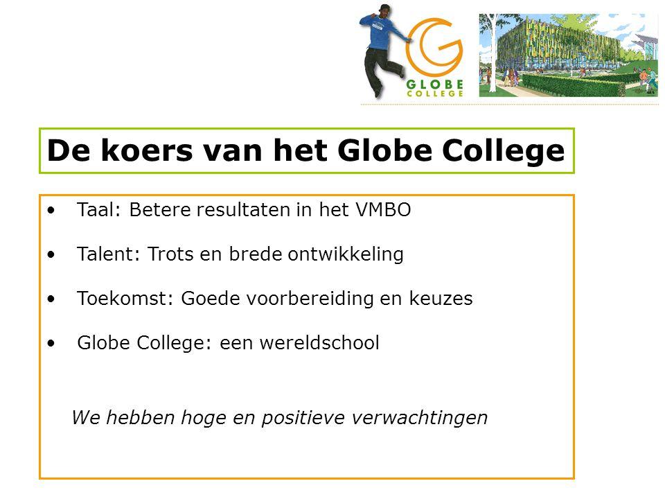 De koers van het Globe College • Taal: Betere resultaten in het VMBO • Talent: Trots en brede ontwikkeling • Toekomst: Goede voorbereiding en keuzes •