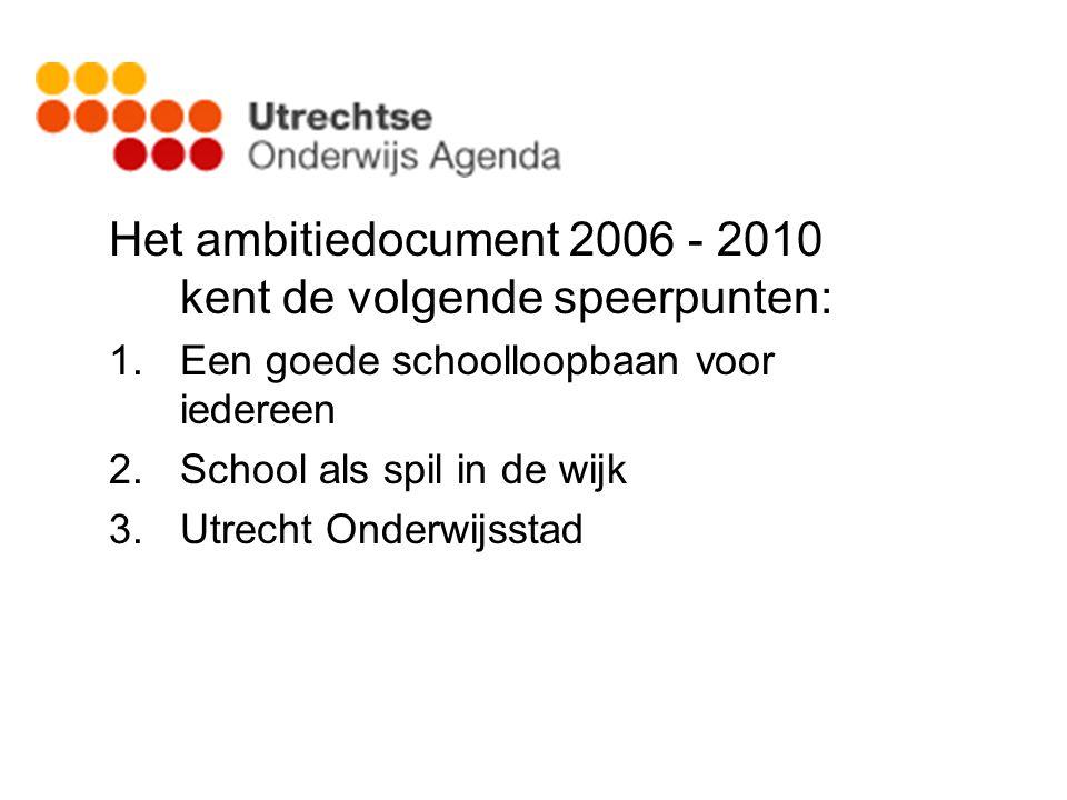 Het ambitiedocument 2006 - 2010 kent de volgende speerpunten: 1.Een goede schoolloopbaan voor iedereen 2.School als spil in de wijk 3.Utrecht Onderwij