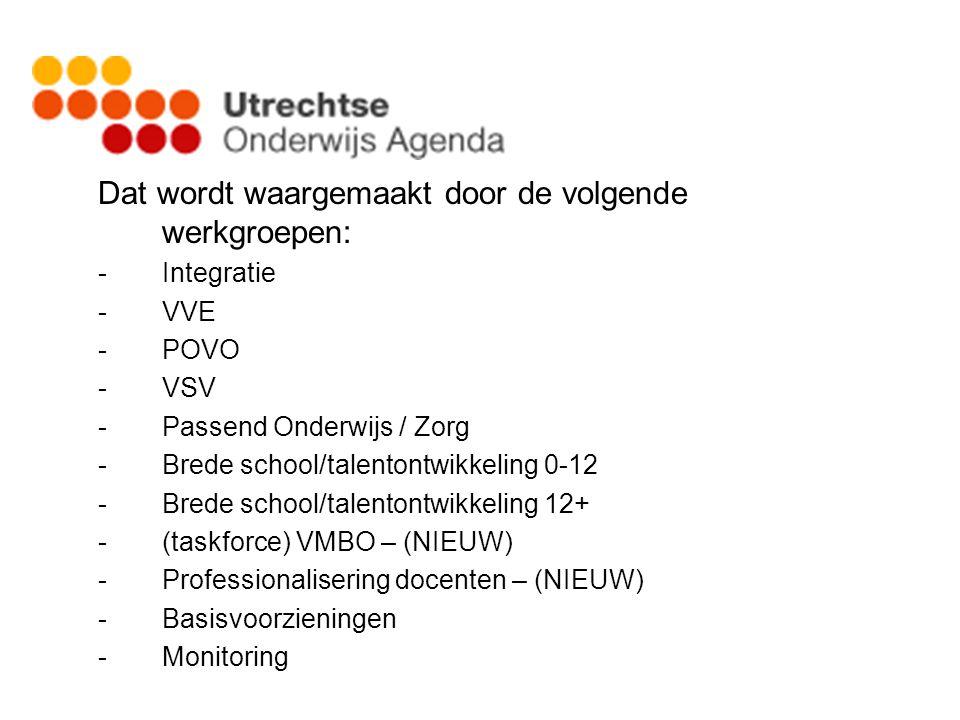 Dat wordt waargemaakt door de volgende werkgroepen: -Integratie -VVE -POVO -VSV -Passend Onderwijs / Zorg -Brede school/talentontwikkeling 0-12 -Brede