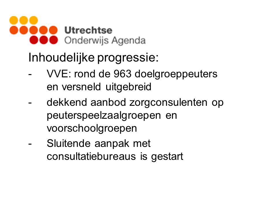 Inhoudelijke progressie: -VVE: rond de 963 doelgroeppeuters en versneld uitgebreid -dekkend aanbod zorgconsulenten op peuterspeelzaalgroepen en voorsc