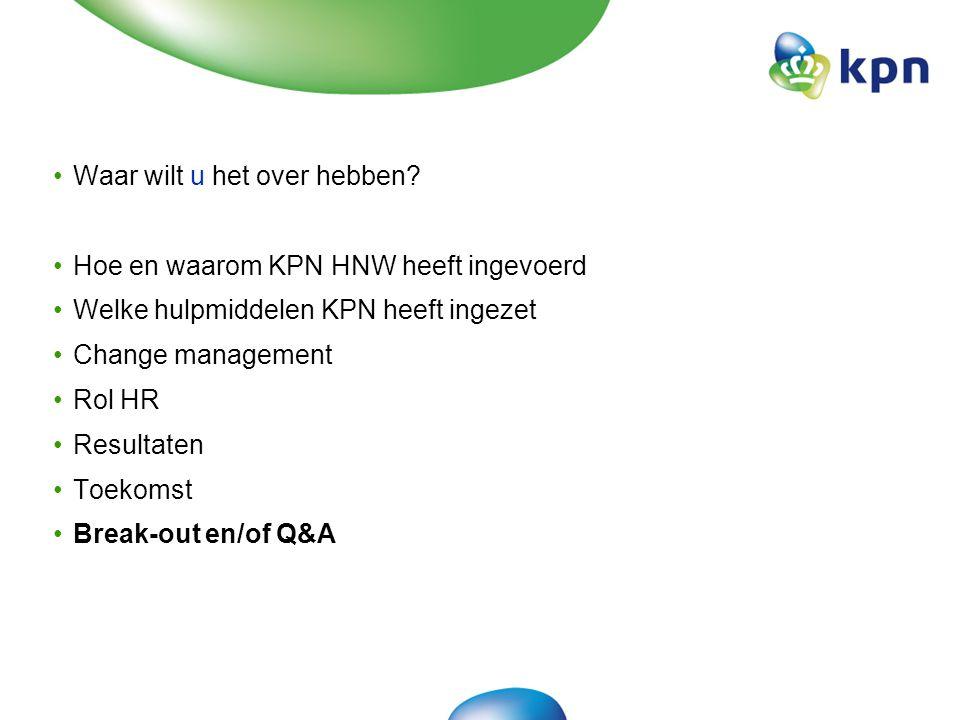 Masterclass 16-9-10HNW 1 april 201022 KPN HNW| Resultaten in beleving (2) Voor alle categorieën bleek de HNW-groep hoger te scoren dan de niet-HNW groep +11% Betrokkenheid +5% Performance Dialogue +18% Imago +17% Leiderschap +4% Het Nieuwe Werken +21% Loopbaanontwikkeling Verschil in Categorie scores MBO onderzoek December 2009