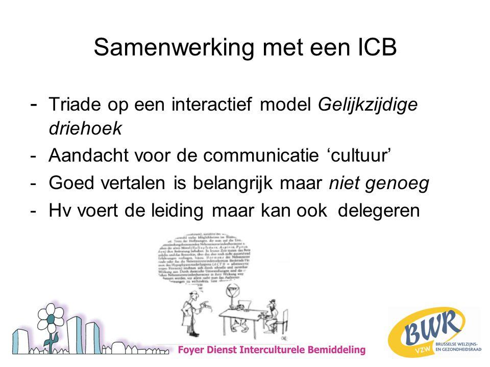 Samenwerking met een ICB - Triade op een interactief model Gelijkzijdige driehoek -Aandacht voor de communicatie 'cultuur' -Goed vertalen is belangrijk maar niet genoeg -Hv voert de leiding maar kan ook delegeren
