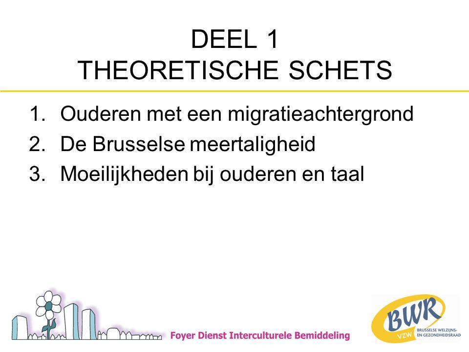 DEEL 1 THEORETISCHE SCHETS 1.Ouderen met een migratieachtergrond 2.De Brusselse meertaligheid 3.Moeilijkheden bij ouderen en taal