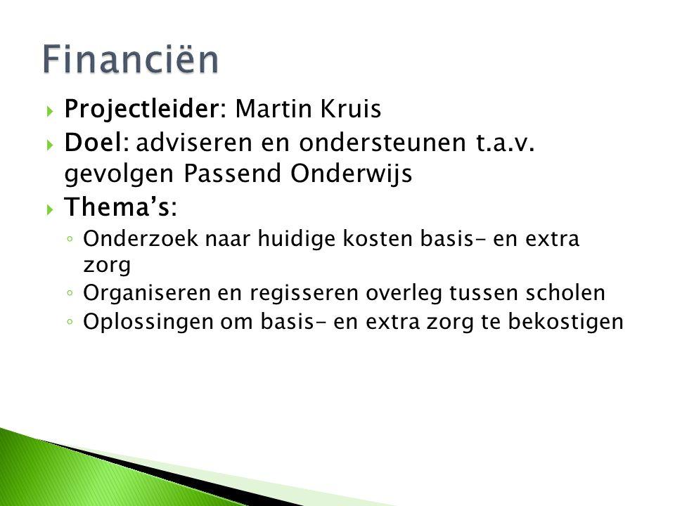  Projectleider: Martin Kruis  Doel: adviseren en ondersteunen t.a.v. gevolgen Passend Onderwijs  Thema's: ◦ Onderzoek naar huidige kosten basis- en