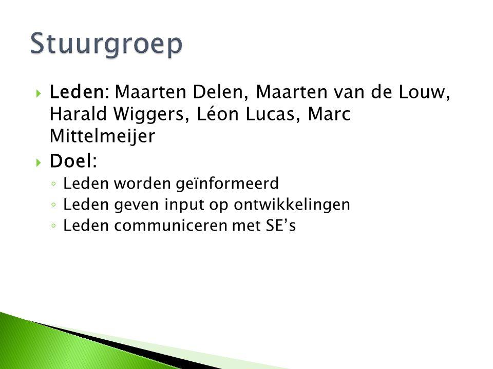  Leden: Maarten Delen, Maarten van de Louw, Harald Wiggers, Léon Lucas, Marc Mittelmeijer  Doel: ◦ Leden worden geïnformeerd ◦ Leden geven input op
