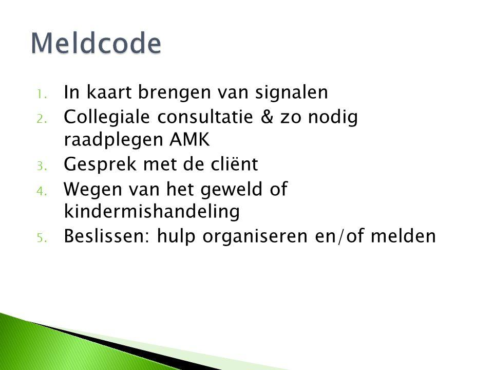 1. In kaart brengen van signalen 2. Collegiale consultatie & zo nodig raadplegen AMK 3. Gesprek met de cliënt 4. Wegen van het geweld of kindermishand