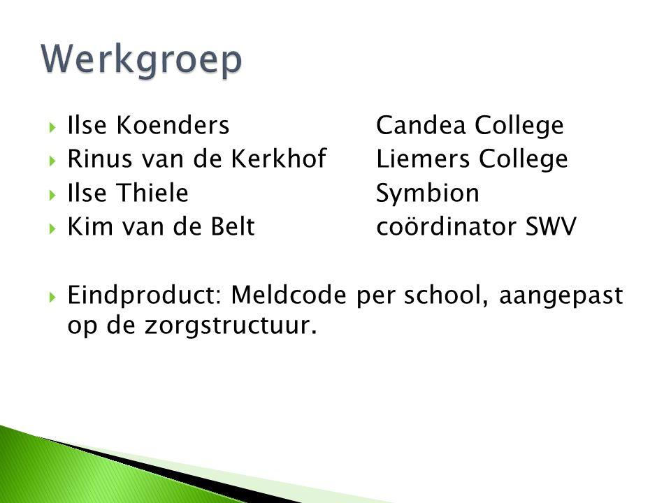  Ilse KoendersCandea College  Rinus van de KerkhofLiemers College  Ilse ThieleSymbion  Kim van de Beltcoördinator SWV  Eindproduct: Meldcode per
