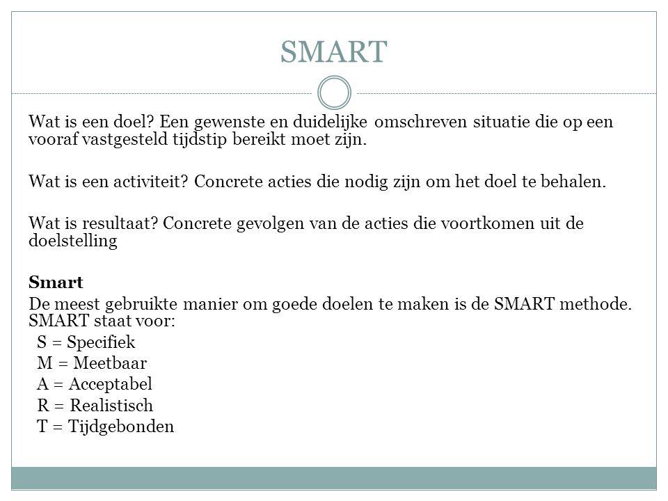 SMART Wat is een doel? Een gewenste en duidelijke omschreven situatie die op een vooraf vastgesteld tijdstip bereikt moet zijn. Wat is een activiteit?