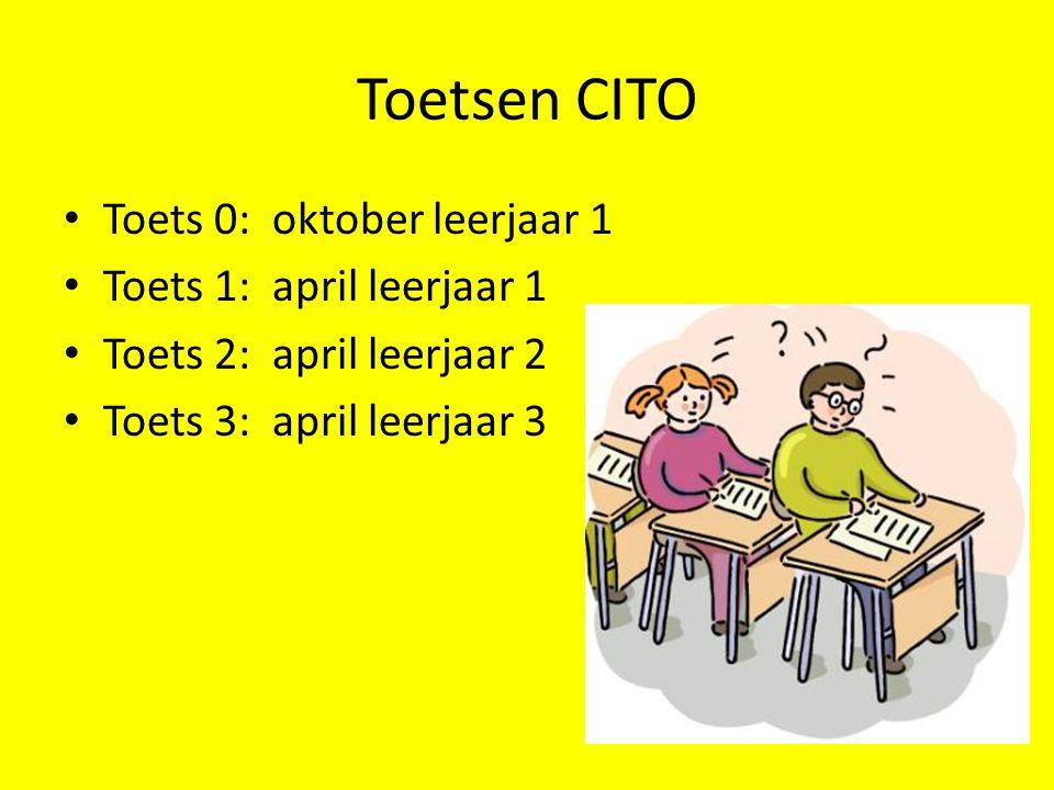 Toetsen CITO • Toets 0: oktober leerjaar 1 • Toets 1: april leerjaar 1 • Toets 2: april leerjaar 2 • Toets 3: april leerjaar 3